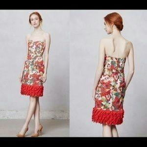 Peter Som Red Floral Cocktail Dress Anthropologie